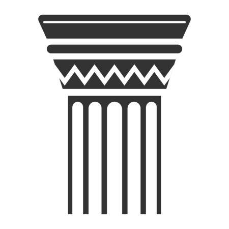 Column black icon, rome culture building element