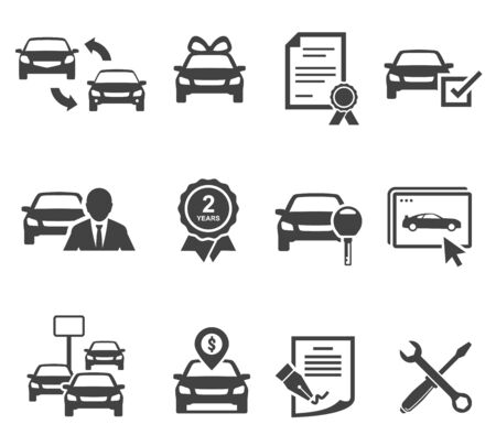 Car dealership black glyph icons vector set