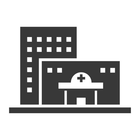 Hospital black icon, medical building office symbol