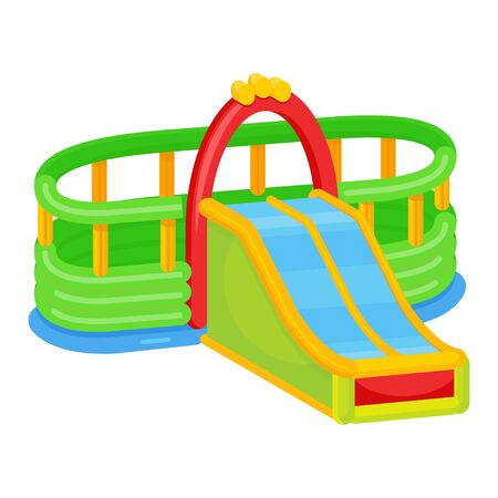 Inflatable playground slide icon, attraction and recreation