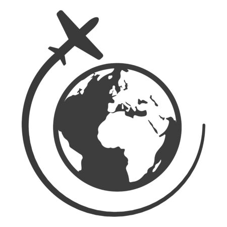 Globe with airplane black icon, travel and business