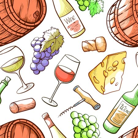 Wine hand drawn vector color seamless pattern