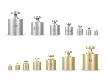 Calibration weights realistic isolated vector illustrations set. Golden and silver precision 3d weight for balance scales. Mass measurement equipments in grams and kilograms cliparts collection Illustration