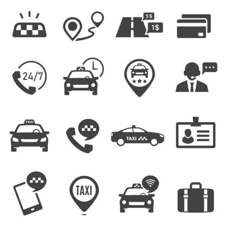 Taxi service black glyph vector icons set