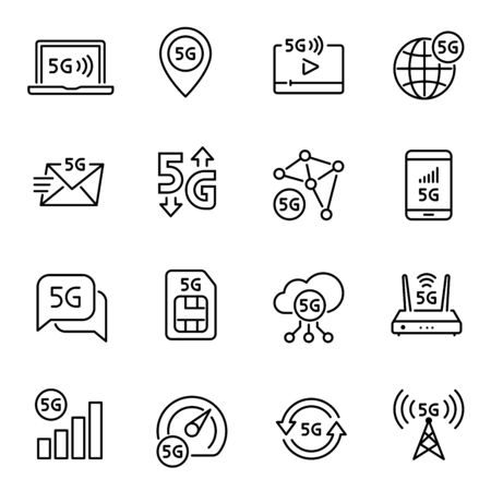 5G Internet connection linear vector icons set