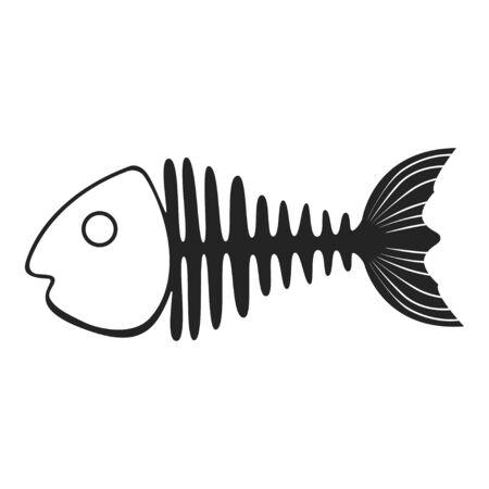 Fish skeleton icon, marine fishbone shape element