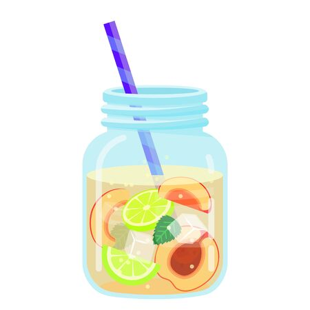 Fruit water icon, summer beverage and cold drink