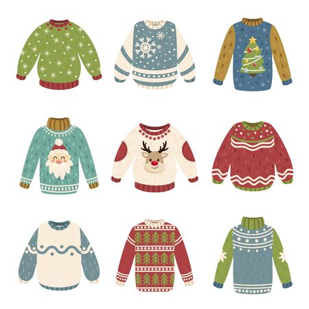 Handmade Christmas sweaters vector color illustrations collection. Festive Xmas and New Year jumpers design elements bundle. Winter holiday season pullovers isolated on white background Иллюстрация