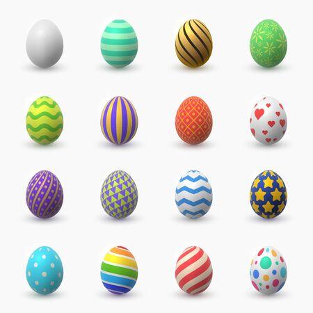 Raccolta di illustrazioni a colori vettoriali 3D delle uova di Pasqua. Pacchetto di elementi di design decorativo tradizionale pasto vacanza cristiana. Disegni di cibo festivo decorati isolati su sfondo bianco