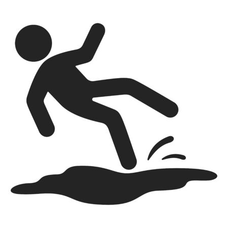 Slipped man black icon, wet floor danger. Alert to notice risk, precaution symbol. Vector line art illustration on white background Stok Fotoğraf - 131850131