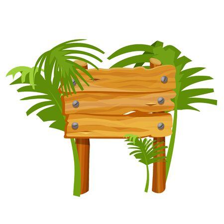 Empty wooden sign flat color vector illustration Standard-Bild - 133292964