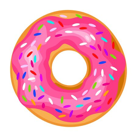 Donut icon, round sweet colorful pastry doughnut  イラスト・ベクター素材