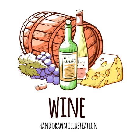 Wine hand drawn vector illustration with typography. Wine barrel and bottle detailed drawings on white background. Winery decorative texture items. Winemaking concept. Cheese and grapes sketch Ilustrace
