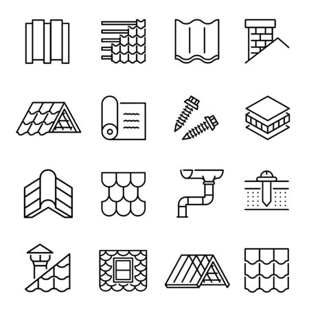 Housetop construction materials linear vector icons set Ilustrace