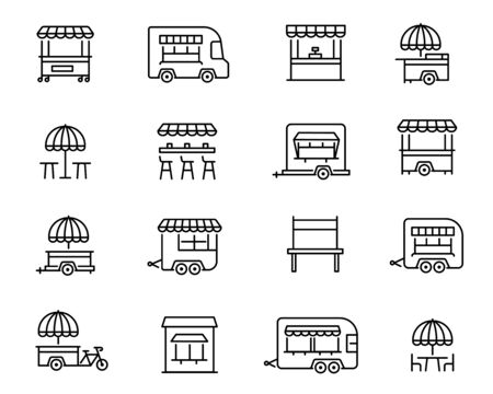 Street food retail linear vector icons set. Fastfood truck, kiosk, trolley outline symbols. Wheel market stall, mobile cafe, trade cart contour drawings collection isolated on white background