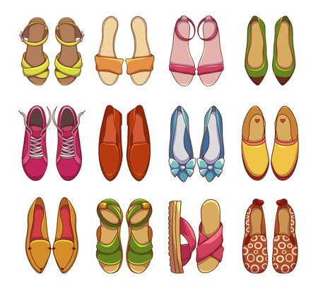 Womens shoes and sneakers vector illustrations set. Colorful female footwear items pack. Espadrilles, trainers top view isolated on white background. Summer sandals design elements collection