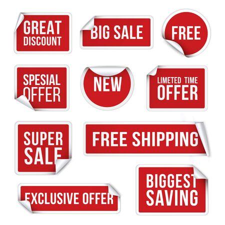 Adesivi di vendita, etichette promozionali set di illustrazioni vettoriali realistiche