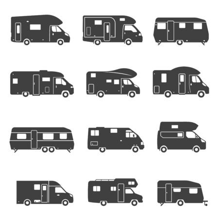 Camping trucks black glyph icons vector set Illustration