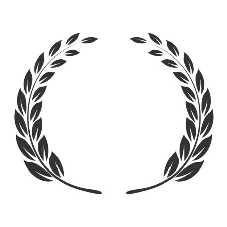 Laurel wreath icon, triumph and success emblem. Honor leaves. Vector flat style cartoon illustration isolated on white background