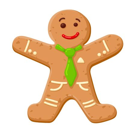 Christmas gingerbread man, cute decorated cookie for holiday  イラスト・ベクター素材