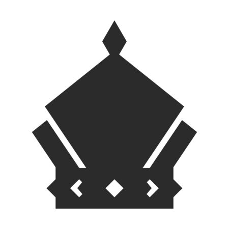 Crown icon, black symbol of monarch and authority Illustration