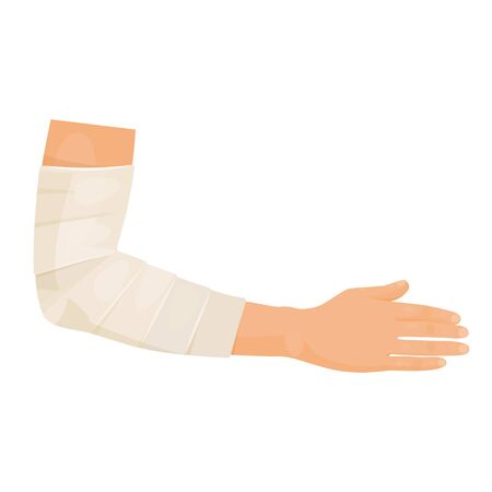 Bandaged hand icon, patient with hand injury Illustration