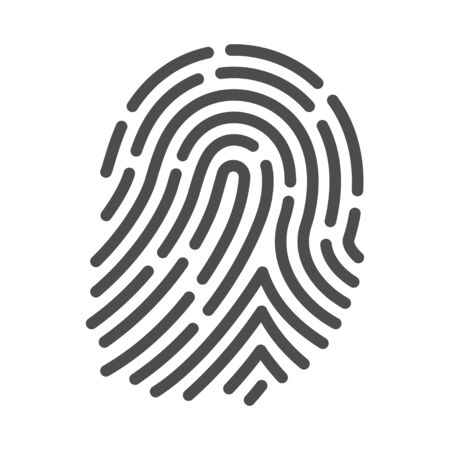 Fingerprint icon, crime and security identification symbol