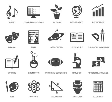 School subjects black glyph icons vector set Illustration