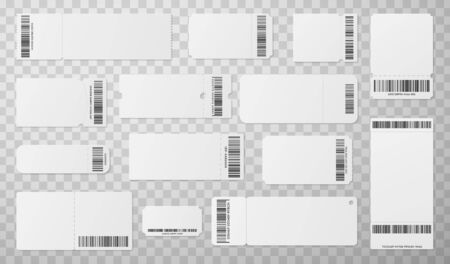 Blank tickets with barcode realistic vector illustrations set. Empty coupon with identification number isolated on transparent background. Cinema, theater, concert entrance tickets cliparts collection