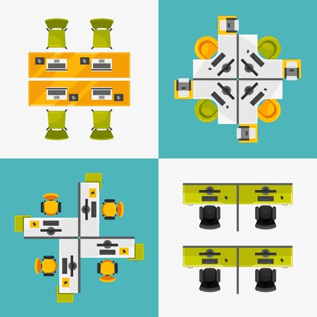Office workplace top view vector illustrations set Ilustrace