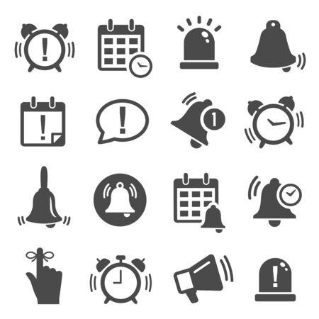 Recordatorio, conjunto de iconos de glifo de notificación en blanco y negro Ilustración de vector