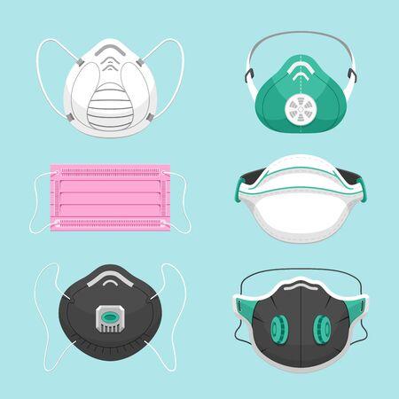 Zestaw ilustracji wektorowych płaskie ochronne maski medyczne. Różne maski oddechowe dla opieki zdrowotnej na białym tle na niebieskim tle. Zanieczyszczenie powietrza, zanieczyszczenie środowiska, pakiet symboli zapobiegania chorobom