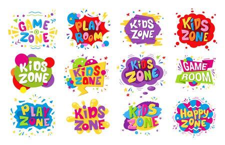 Kids zone emblem colorful cartoon illustrations set 일러스트