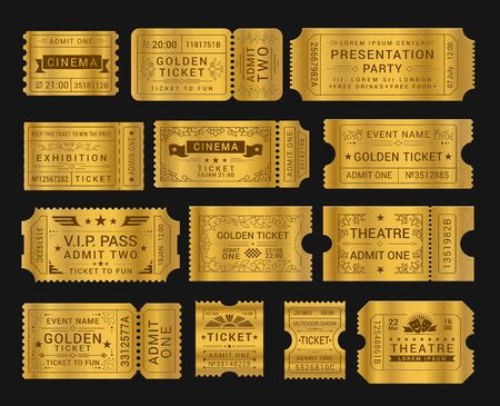 Gold vintage tickets realistic vector illustrations set