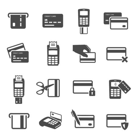 Credit cards black glyph icons vector set