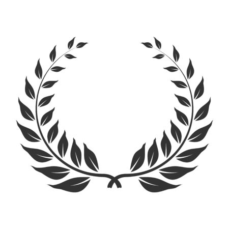 Laurel wreath icon, award and winner symbol. Anniversary honor leaves for heraldry. Vector line art illustration isolated on white background  イラスト・ベクター素材