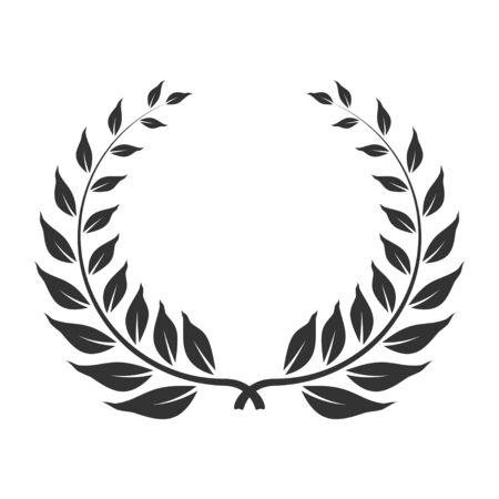 Laurel wreath icon, award and winner symbol. Anniversary honor leaves for heraldry. Vector line art illustration isolated on white background 일러스트