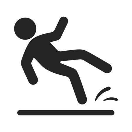 Slipped man black icon, wet floor warning. Injury and risk precaution. Vector line art illustration isolated on white background
