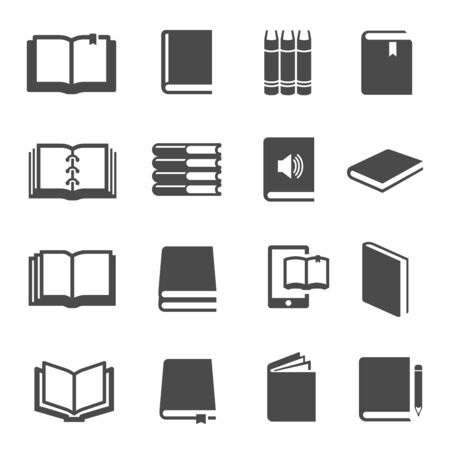 Different books black glyph icons vector set