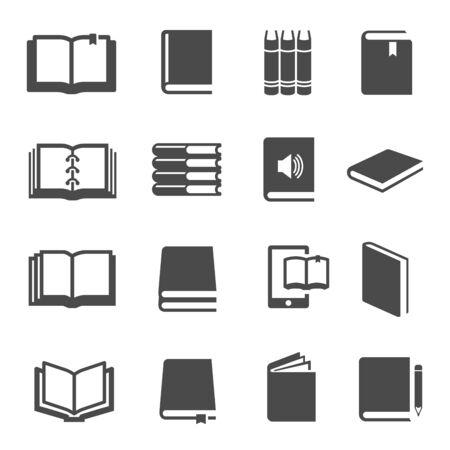 Insieme di vettore delle icone del glifo nero di libri diversi Vettoriali