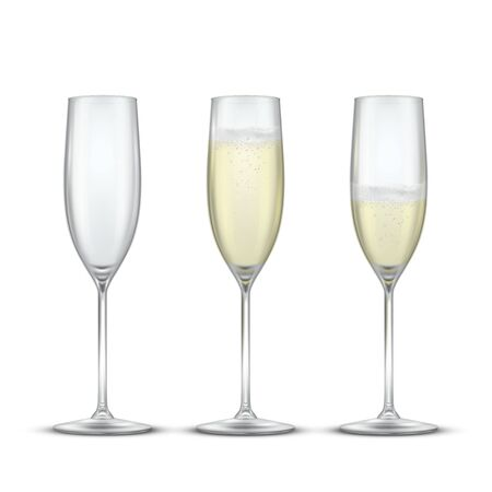Elegant glasses with champagne realistic vector illustrations set
