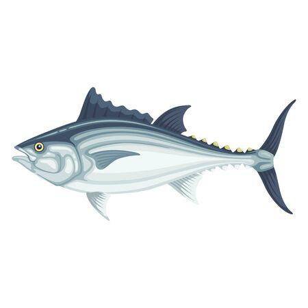 Tuna fresh large fish, seafood cuisine icon