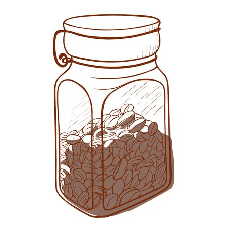 Coffee glass jar icon, bean beverage in a can Ilustração