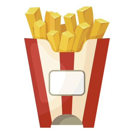 French fries icon, crispy fast food snack Illustration