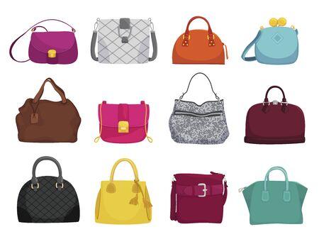 Conjunto de ilustraciones vectoriales planas de bolsos de mujer de moda
