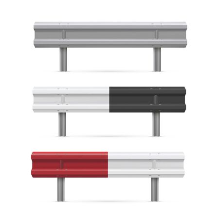 Metal road barriers realistic vector illustrations set