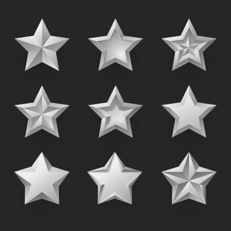 Silver stars isolated realistic vector illustrations set