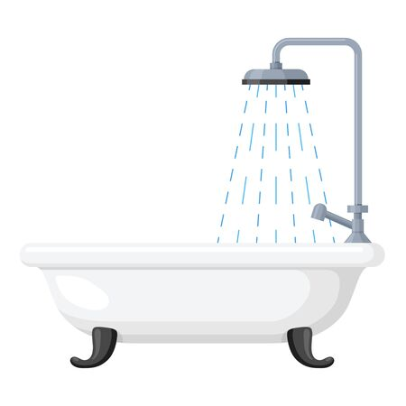 Bath icon, clean bathroom interior in rest room. Bathing symbol. Vector flat style cartoon illustration isolated on white background Imagens - 134809146