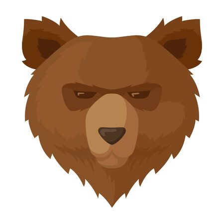 Brown bear icon, wildlife nature grizzly animal. Environment and hunting symbol. Vector flat style cartoon illustration isolated on white background