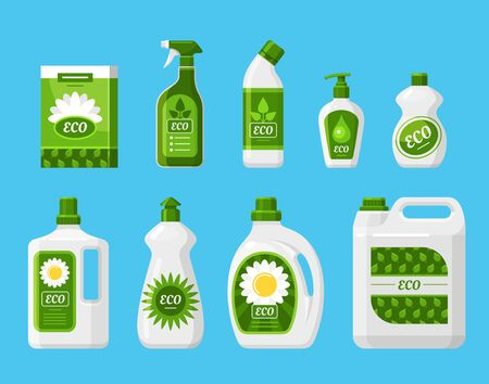 Eco friendly cleaning products vector illustrations set. Dish washing liquid bottles isolated elements. Environment friendly cleaning fluid with natural ingredients. Nontoxic detergents containers